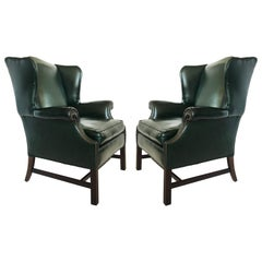 Pair of Georgian Forest Green Leather Wingback Armchairs
