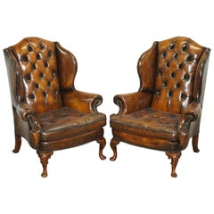 Pair of Georgian Irish Chesterfield Brown Leather Wingback Armchairs Carved Legs