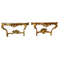 Pair of Georgian Irish Giltwood Consoles with Scagliola Marble Tops