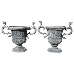 Pair of Georgian Lead Two Handled Urns