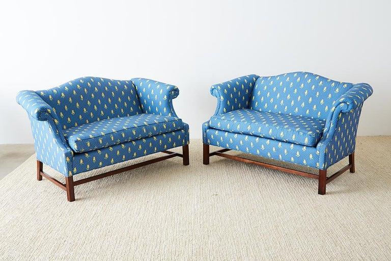 George III Pair of Georgian Style Mahogany Camelback Settees For Sale