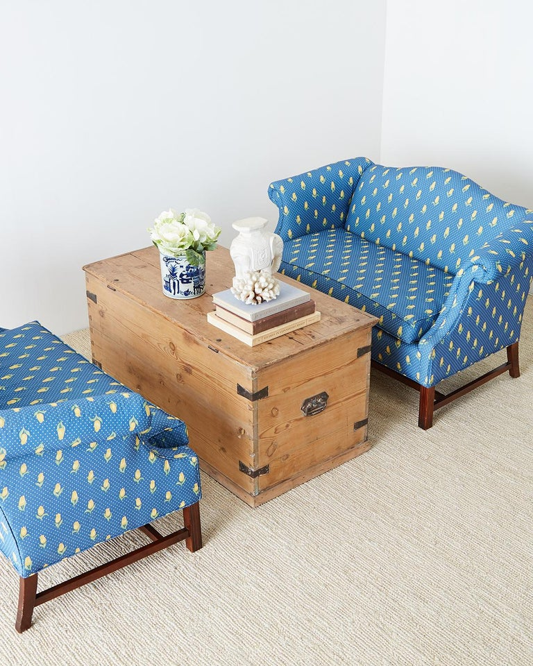 American Pair of Georgian Style Mahogany Camelback Settees For Sale