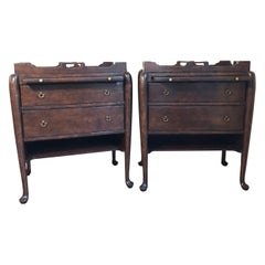 Pair of Georgian Period Walnut Tray Top Commodes/Bedside Tables