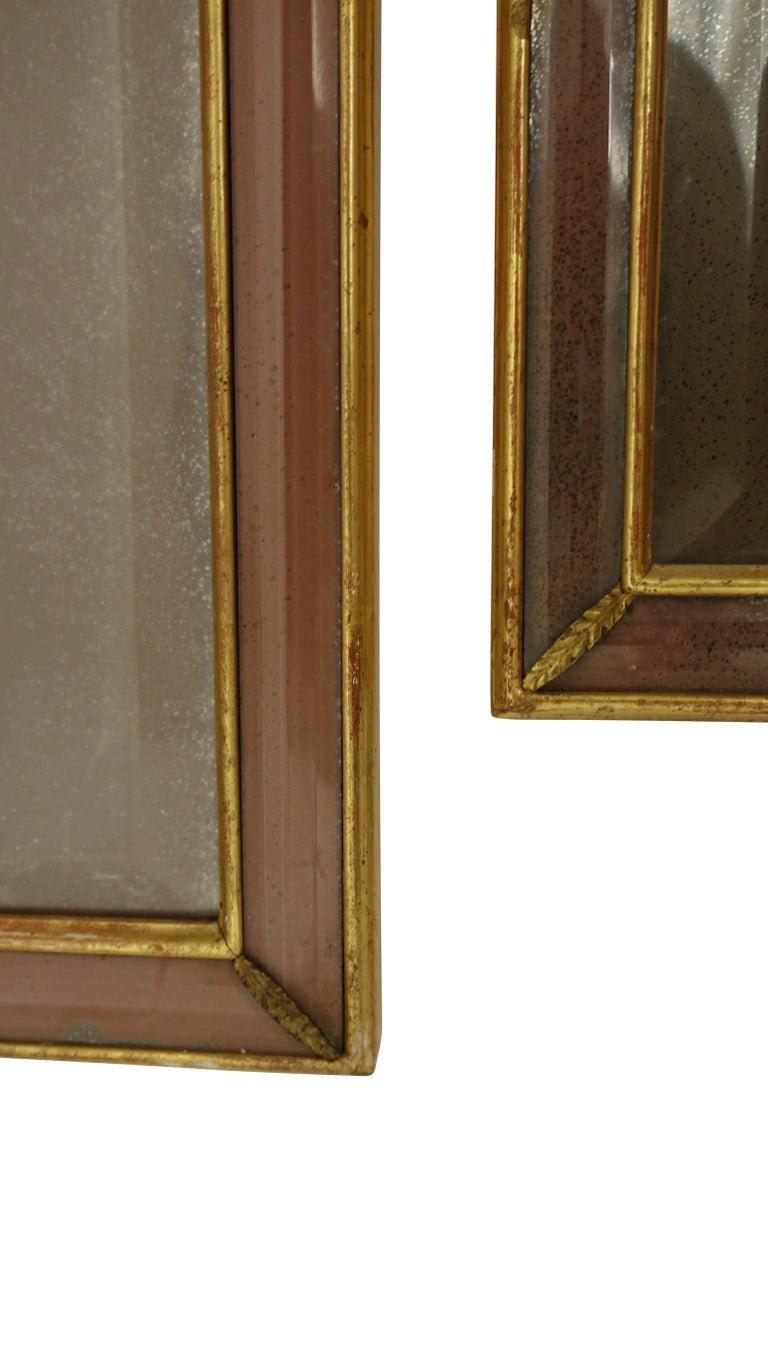 Pair of Georgian Pier Mirrors with Gilt Frame and Etched Glass For Sale 1