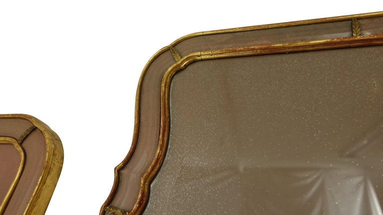 Pair of Georgian Pier Mirrors with Gilt Frame and Etched Glass For Sale 2