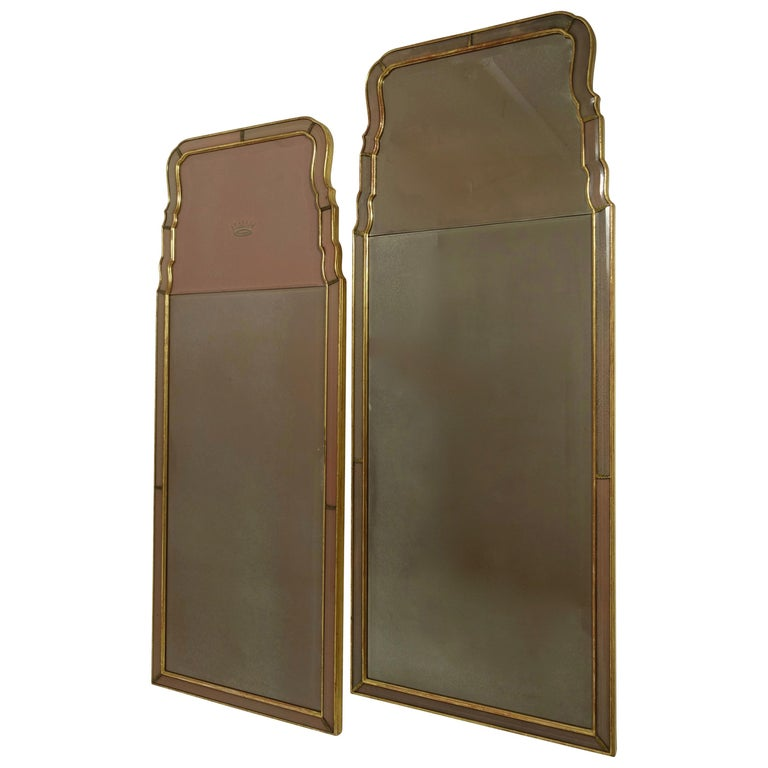 Pair of Georgian Pier Mirrors with Gilt Frame and Etched Glass For Sale