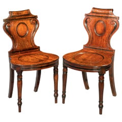 Pair of Georgian Regency Hall Chairs, circa 1815