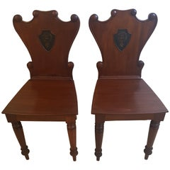 Pair of Georgian Shield Back Irish Hall Chairs