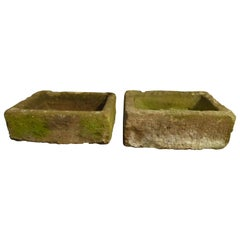 Pair of Georgian Stone Garden Troughs