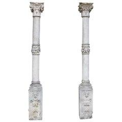 Pair of Georgian Style Antique Limestone Columns