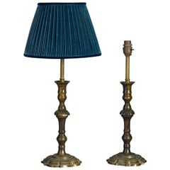 Pair of Georgian Style Bronzed Candlestick Lamps