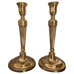 Pair of Georgian Style Gilt Bronze Candlesticks