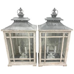 Pair of Georgian Style Grey Painted Lanterns