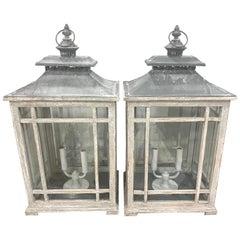 Pair of Georgian Style Grey Painted Lanterns