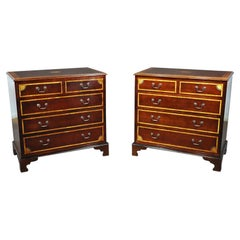 Pair of Georgian Style Inlaid Mahogany Commodes Dressers