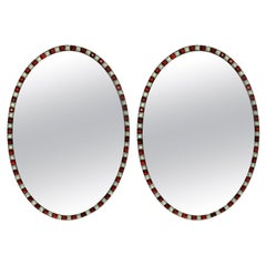 Pair of Georgian Style Irish Mirrors in Ruby Glass and Rock Crystal