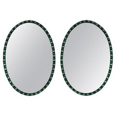 Pair of Georgian Style Irish Mirrors Studded with Emerald Glass and Rock Crystal