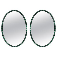 Pair of Georgian Style Irish Mirrors Studded with Emerald Glass & Rock Crystal