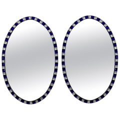 Pair of Georgian Style Irish Mirrors with Blue Studded Borders