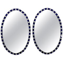 Pair of Georgian Style Irish Mirrors with Blue Studded Borders