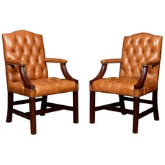 Pair of Georgian Style Leather Gainsborough Library Chairs