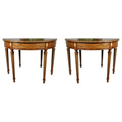Pair of Georgian Style Mahogany and Kingwood Veneered Demilune Tables