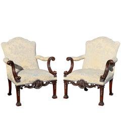 Pair of Georgian Style Mahogany Armchairs