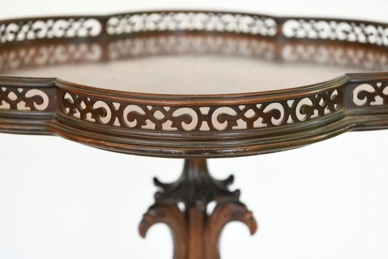 American Pair of Georgian Style Mahogany Galleried Side Tables For Sale