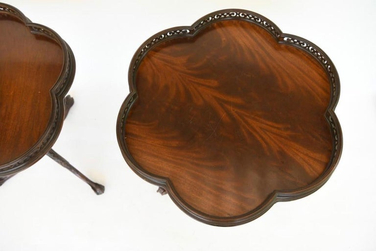 Pair of Georgian Style Mahogany Galleried Side Tables In Good Condition For Sale In Great Barrington, MA