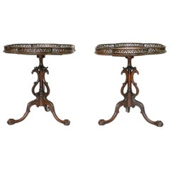 Pair of Georgian Style Mahogany Galleried Side Tables