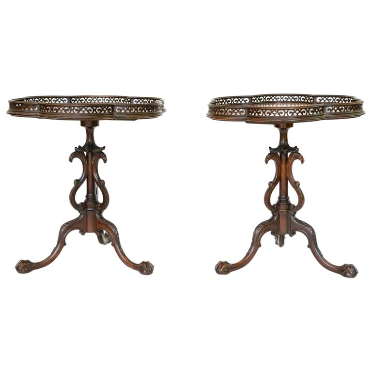 Pair of Georgian Style Mahogany Galleried Side Tables For Sale
