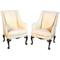 Pair of English Georgian Style Mahogany Lounge Club Fireside Chairs