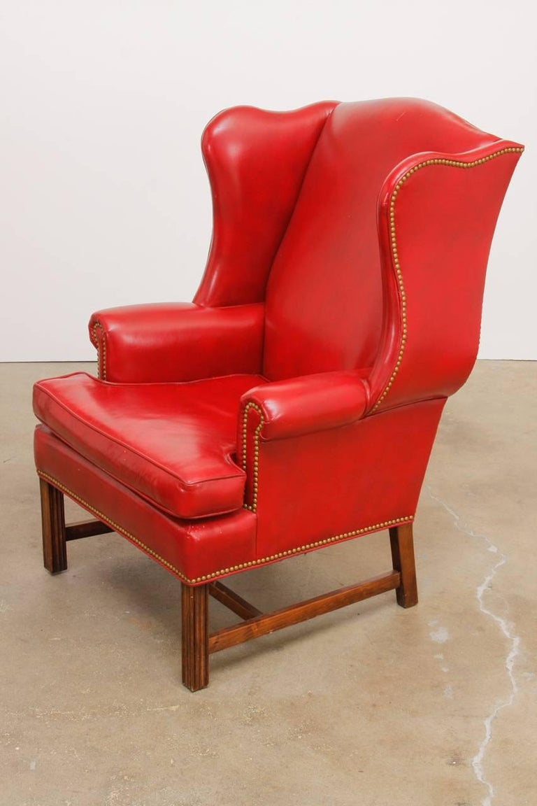Pair of Georgian Style Red Leather Wingback Library Chairs ...