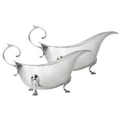 Pair of Georgian Style Sterling Silver Sauceboats