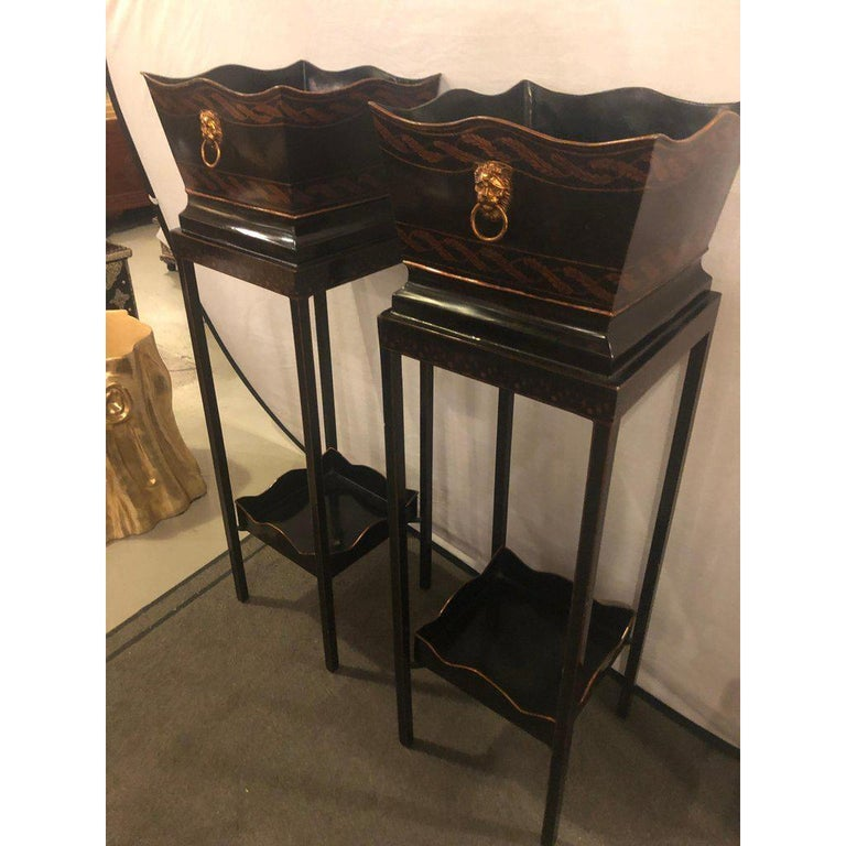 Pair of Georgian Style Tole Jardinières or Planters on Shelved Pedestals For Sale 1