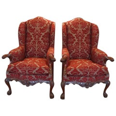 Pair of Georgian Style Wing Chairs
