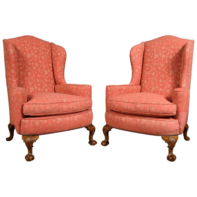 Pair Of Georgian Style Wingback Armchairs For Sale At 1stdibs