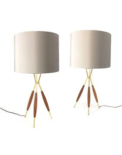 Pair of Gerald Thurston Tripod Table lamps for Lightolier