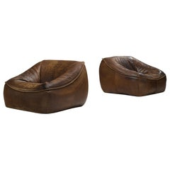 Pair of Gerard van den Berg Leather Lounge Chairs for Montis