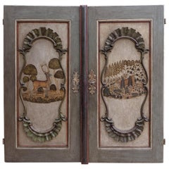Pair of German 18th Century Baroque Painted Doors Hunting Deer Stag