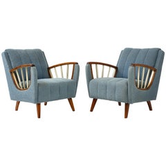 Pair of German 1950s Walnut and Brass Armchairs