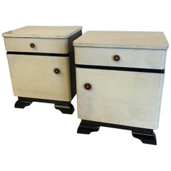 Pair of German Art Deco Parchment Nightstands, 1940s
