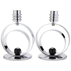 Pair of German Art Deco Revival Chrome and Black Enamel Candleholders