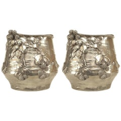 Pair of German Art Nouveau 'Late 19th Century' Silver-Plate Round Cachepots