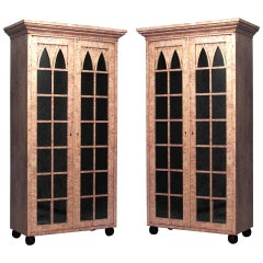 Pair of 19th Century German Biedermeier Birch Bookcase Cabinets