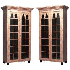 Pair of German Biedermeier Bookcase Cabinets
