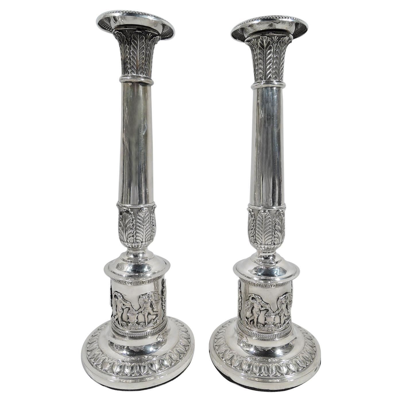 Pair of German Biedermeier Classical Silver Candlesticks