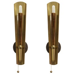 Pair of German Brass Candle Wall Lights