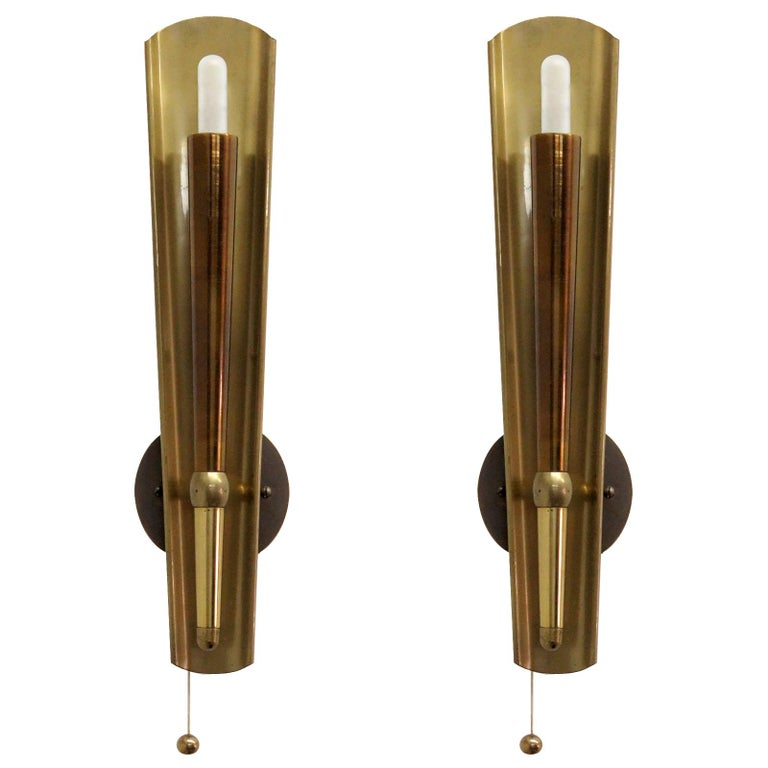 Pair of German Brass Candle Wall Lights For Sale