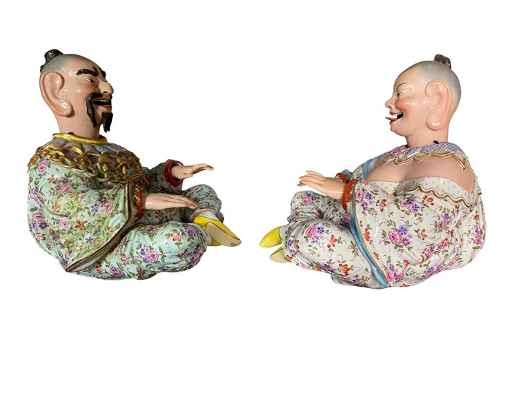 Pair of German Chinoiserie Porcelain Figures of Seated